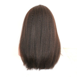 prix à moitié perruque Promotion Couleur naturelle Kinky Droite Perruque Pour Noir Blanc Femme Remy Vrigin Perruques