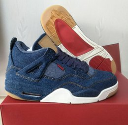 Wholesale Denim Down - Retro 4 Denim Men 4s Basketball Shoes Blue Jeans Sneakers Top Quality Shoes Ship With Box