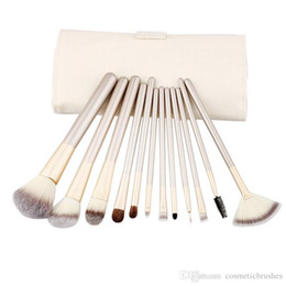 Wholesale Makeup Kit Products - Mybasy New Professional Beige 12pcs Makeup Brushes Set With Wood Handle Persian hair Use For Powder Cream And Liquid Products