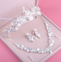 Wholesale Fairy Stone Jewelry - Newest 2018 bridal necklace wedding bridal jewelry white ceramic rhinestone crown necklace earrings three-piece fee shipping