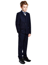 2021 chicos azul marino esmoquin New Boy's Formal Wear Double-Breasted Navy Blue Peak Lapel Formal Occasion Kids Tuxedos Wedding Party Suits (Jacket+Pants+Vest+Tie) 611