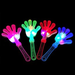Wholesale Hand Clappers - 100pcs Flash LED Luminescent Hand Clapper Party Supplies Night Light Hand Clapping Device Concert Christmas Gift wen5686