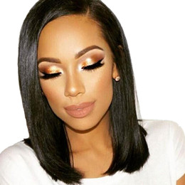 Wholesale Long Brown Human Hair Top - Indian Top Full Lace Wigs 130% Density Straight Virgin Hair Pre Plucked Hairline Human Hair Wigs For Women Natural Black Free Shipping
