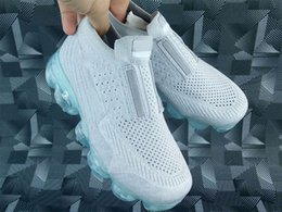 Wholesale Shoe Laces Light Kids - High Quality VaporMax Kids Running Shoes 2018 New Rainbow VaporMax Children Running Sneakers Athletic Sports VaporMax Kids Running Shoes