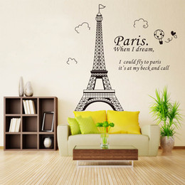 Wholesale Paris Wall Decals - Free shipping Romantic Paris Eiffel Tower Beautiful View of France DIY Wall Stickers WallpaperArt Decor Mural Room Decal
