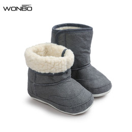 Wholesale Pink Newborn Booties - Wonbo 7Colors New Newborn Baby Infant Toddler Prewalkers Soft Rubber Soled Shoes Boots Children Boy Girls Booties Booty