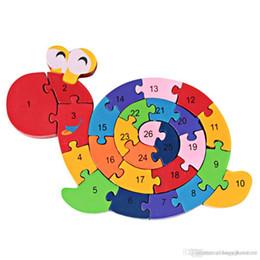 Atacado-Kids Enrolamento Caracol Enigma De Madeira Crianças Educacional Educacional Brinquedo Caracol Brinquedo Madeira Criativa Animal Quebra-cabeças de
