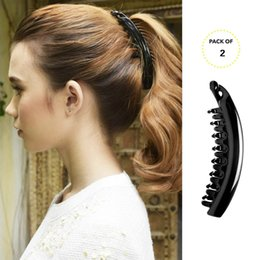 2 PACK Womens Premium Hair Plastic Banana Clincher Classic Hold fuerte  Ponytail Maker Styling Girls para mujer belleza Accesorio Corchete Clip 81d3676834b9