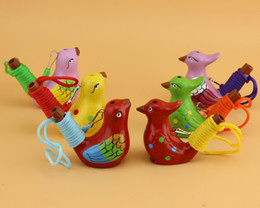 Wholesale Party Songs - Vintage Style Handmade Ceramic Water Bird Whistle Clay Song Chirps Birds Christmas Party Gift Free Shipping wen5029