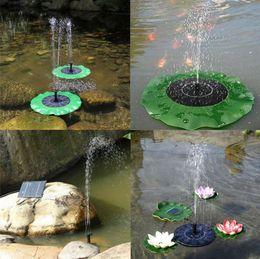 Estanques de bombeo online-Bomba de agua solar Kit de panel de bomba de agua flotante Kit de bomba de piscina de fuente Lotus Leaf Charca flotante Riego Bomba de jardín sumergible OOA5045