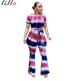 dresses com Coupons - Explosion printed short-sleeved trousers two-piece gradient Fashion casual two-piece two-color optional Street hipsters wear com