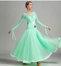 Wholesale green fringe dress - 2018 style 5 colors blue ballroom competition dress tango dresses standard ballroom waltz dresses ballroom dancing dress fringe