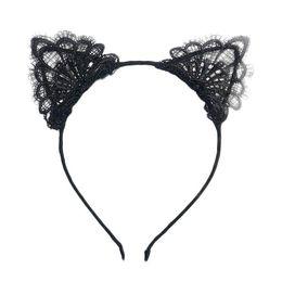 Wholesale Black Lace Cat Ears - Female Women Lady Girls Sexy Cat Ears Black Lace Hairbands Headbands Headwear Hair Hoop Party Hair Accessories 10pcs