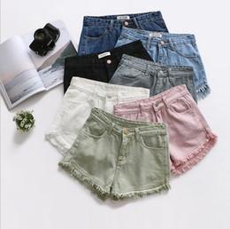 Wholesale High Jeans Girls - Denim Shorts Tassel High Waist Jeans Women Casual Knickers Pants Girls Skinny Retro Pants Slim Summer Candy Color Sexy Shorts YYA1054