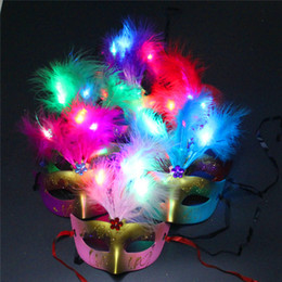 Wholesale Light Up Masquerade Masks - Fashion LED Glowing Party Mask Birthday Halloween Princess Feather Mask Light Up Masquerade Masks Flash Party Mask