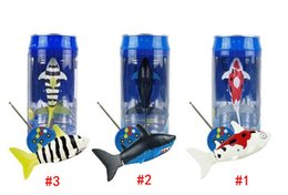 Wholesale Animal Robots - DHL Free Mini RC Shark UnderWater Coke Can RC Shark Fish 3CH Radio Remote Control Fish 3-Colors 3310B RC Toy for Kids Water Fun Toy