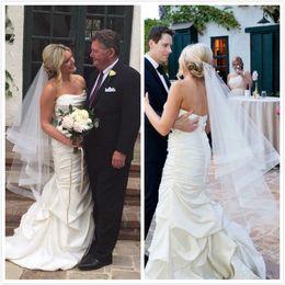 "Wholesale bridal appliques trims - Bridal Veil Elegant Wedding Accessories Ribbon Edge Fingertip Veil with 2"" Horsehair Trim Fingertip Tulle Wedding Veil"