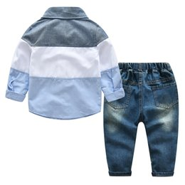 Wholesale British Cloths - Boys long-sleeved blouse Hole cloth-fitting pants Clothing Sets 2018 spring children's clothing kids British wind two-piece suit