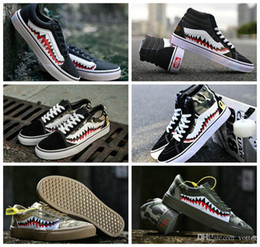 canvas shoes customs Promo Codes - Fashion Vault x 17SS SHARK MOUTHS Classic Sk8-Hi LX Custom Old Skool Casual Canvas Running Shoes For Women Men Skateboard Sport Sneakers