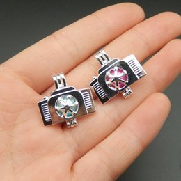 Wholesale Fun Necklaces - 10pcs Silver Plated Camera Pearl Cage Necklace Jewelry Making Supplies Pearl Cage Locket Pendant Perfume Diffuser Fun Jewelry