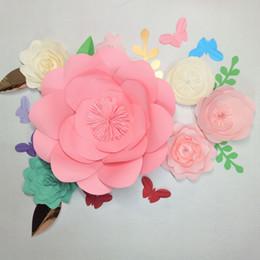 2018 DIY Dev Kağıt Çiçekler Zemin 6 adet + Yapraklar 6 adet + Kelebekler 7 adet Düğün Olay Bebek Kreş Dekor Çiçek Öğreticiler supplier butterfly decor for nursery nereden kreş için kelebek dekor tedarikçiler