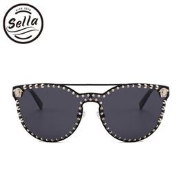 Wholesale Nails Boy - Sella High Quality Super Fashion Women Men Retro Cateye Nail Decoration Mirror Lens Sunglasses New Arrival Trending Punk Glasses