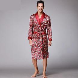 Wholesale Male Silk Kimono Robe - Men Kimono Robes V-neck Faux Silk bathrobes Nightgown For Male Senior Satin Sleepwear Summer Paisley Pattern Pajamas Set