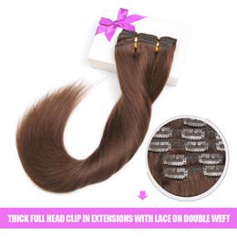 extensiones de cabello humano chocolate recto Rebajas Indian 100 remy clip para el cabello humano en extensiones de cabello straight brown color 18inch 150g clip de espesor en extensiones de cabello