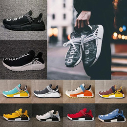 Wholesale high network - High Quality Pharrell Williams Hu NMD_TR NMD HUMAN RACE Joint Mens Womens Running Shoes Sports Network Men Sneaker Casual shoes Size 36-47