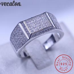 Vecalon Schmuck Hochzeit Band Ring für Männer Pflastern Set 150pcs Diamonique CZ 925 Sterling Silber männlichen Verlobungsring Vater Geschenk von Fabrikanten