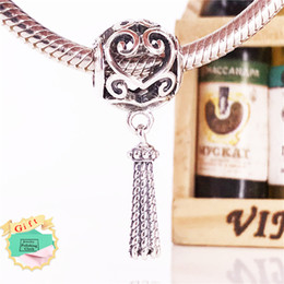 Wholesale european charm necklace sterling - Spring New Arrival Authentic 925 Sterling Silver Enchanted Heart Tassel Pendant charm Fits European Jewelry Bracelets & Necklace 797037