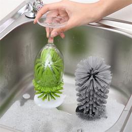 Cepillo de vidrio online-Botella de vidrio Cepillo de limpieza Durable Ventosa Base Vino Copas Cepillos Cocina Herramienta limpia Anticorrosivo 7yy C
