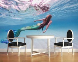 Wholesale Modern Swimming - custom photo wallpaper for walls 3 d Art HD Mermaid clear sea swim living room backdrop 3d large wall mural wallpaper