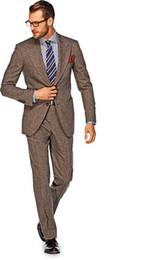 Официальный коричневый смокинг онлайн-2018 Latest Coat Pant Designs brown wide peaked lapel tuxedo formal men suits for wedding smart business slim fit jacket+pants