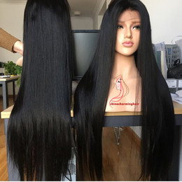Wholesale Extra Long Lace Wigs - 30inch Stocking lace front wig 1b silk straight extra long brazilian 30inch virgin human hair wig free shipping