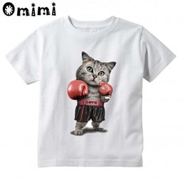 Wholesale Girls Boxers Shorts - Children Puglism Strong Boxer Cat Dog Design T-shirts Boys Girls Summer White T shirts Kid Clothing Toddler Short Sleeve Tops