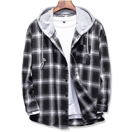 Wholesale Hooded Plaid Shirt Men - 2017 Spring Autumn men's Slim Fit Men Long Sleeve Hooded Shirt Men plaid shirt Male Casual Large size 5XL