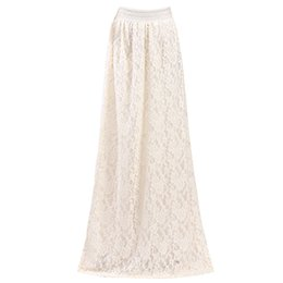 Wholesale flower maxi skirt - Fashion Women Girl Double Layer Lace Flower Pleated Maxi Skirt High Elastic Waist Long Maxi Skirts Elegant Womens Long Skirts