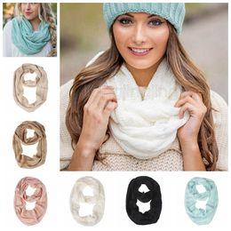 aquecedor de ganchos Desconto 8 cores Inverno Malha Cachecol De Lã Menina de Tricô Anel de Malha Quente Crochet Cachecol Duplo Círculo adolescente lenços de pescoço com logotipo GGA946