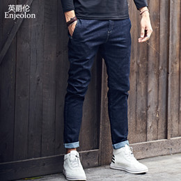 Las mejores marcas de los hombres pantalones vaqueros online-Enjeolon Brand Top New High -Quality Full Length Jeans Men, Fashion Slim Straight Jeans Clothes Males Causal Pants Wholesale