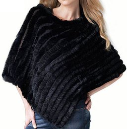 Wholesale Womens Ponchoes - Wholesale-2016 Womens Winter Coat And Jacket Coat Female Soft Knitted Genuine Fur Poncho Coats