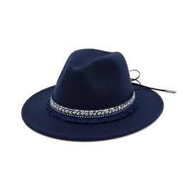 Female Wool Felt Jazz Fedora Hats Trilby with Ribbon Tassels Decorated  Trend Men Women Wide Brim Panama Gambler Hat dbecec294314