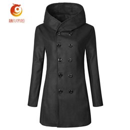 Wholesale trenchcoat style - 2017 Trenchcoat New Style Autumn Winter Fashion Clothes Trench Coat Men Outwear Double Breasted Hooded Mens Overcoat Size 3XL