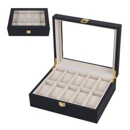 OUTAD 10 Slots Preto De Madeira Caixa De Relógios Casket Diy Titular Organizador De Jóias De Armazenamento Display Case Rack Showcase Presente Novo de