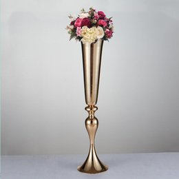 Wholesale Vase Candle Holder Wholesale - 74cm height gold  silver metal candle holder candle stand wedding centerpiece event road lead flower vase 10 pcs  lot