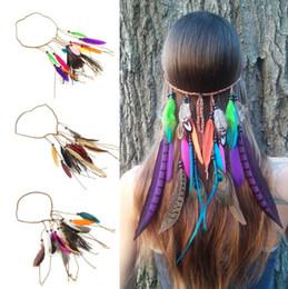 Wholesale Indian Stocks - Girl's Hippie Indian Peacock Feather Headband Bohemia style Hairband Headdress Fascinators women Head Rope FFA290 3styles