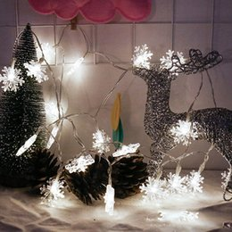 Wholesale Red Flakes - Wholesale- PROBE SHINY 20 LED Snow Flake Flowers Solar String Fairy Lights Outdoor Solar String Lights Decorated Garden Christmas