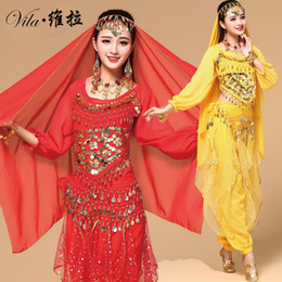 Wholesale Indian Bollywood Dancing - 9pcs Belly Dance Costume Bellydance Triba Gypsy Indian Dress Belly Dancing Clothes Belly Dancing Bollywood Dance Costumes
