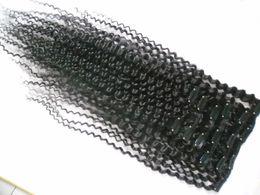 Capelli neri naturali pezzi afro online-Clip in capelli umani Extension Natural Color 8 pezzi / set Brasiliani ricci crespi capelli ricci 100G afro kinky clip nelle estensioni