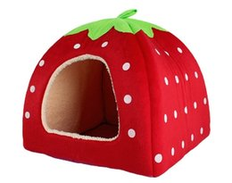 Wholesale Beds For Cats - Lovely Strawberry Soft Cashmere Warm Pet Nest Dog Cat Bed Fold-able Houses for Pets Red